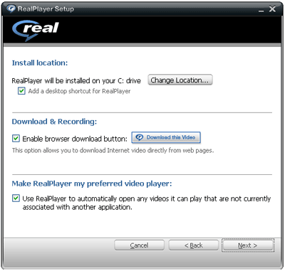 RealPlayer 11 installation options