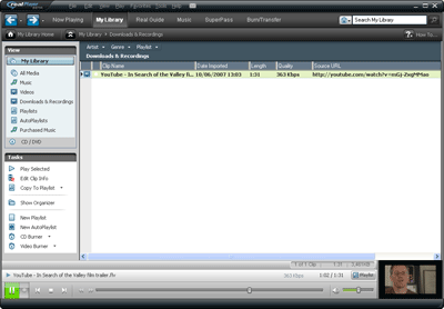 RealPlayer 11 library full interface