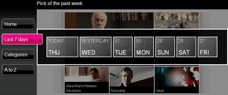 iPlayer program guide 7 days