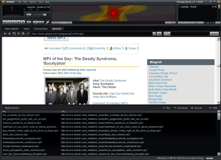 Winamp Media Monitor mp3 blog browser