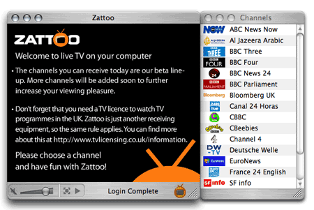 Zattoo UK channel lineup