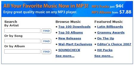 Wal-Mart MP3 store