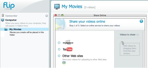 FlipShare software: upload to YouTube or MySpace