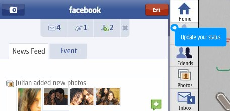 Nokia Facebook app: update your status