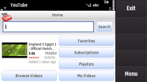 YouTube's new application homepage on S60